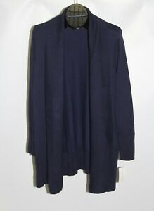New Charter Club Women's Plus Size 2X Intrepid Blue Ribbed Trim Open Cardigan