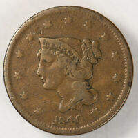 1840 1c BRAIDED HAIR LARGE CENT, NICE DETAIL LOT#N610