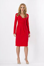 Women's Wrap Dress V-Neck Cocktail Jersey Office Bubble dress Size 8-18 6801