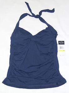 Anne Cole Womens NWT $60 Tankini Bikini Halter Swimsuit Tank Top, S M, Navy Blue