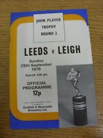 29/09/1979 Leeds v Leigh [John Player Trophy] Rugby League Official Programme (t