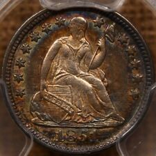 1851 Seated Half dime, Pcgs Au55, Wow! amazing album toning DavidKahnRareCoins