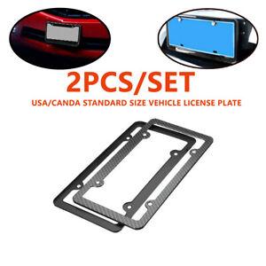2X Carbon Fiber License Plate Holder Cover Frame Front/Rear USA/CA Standard Size