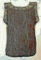 NEW Lovely MEZON COUTURE 2 Tone BROWN Mixed Media TOP Handmade Size LARGE $139
