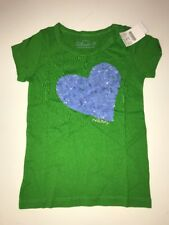 NWT Crewcuts J CREW 4-5 Yr Green Heart Sequin Girls Collectible Tee Top T-shirt