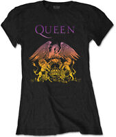 QUEEN Classic Gradient Crest Band Logo WOMENS GIRLIE T-SHIRT OFFICIAL MERCH