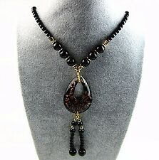 121PCS Charming black gold lampwork glass teardrop necklace 15 inches Vk4704