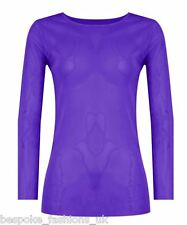 Ladies Women's Long Sleeve Sheer Mesh SEE THROUGH Plain Top T-Shirt Plus 8-20