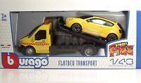 """Bburago 31406 Car Hauler w/ALFA MiTO """"Yellow"""" - METAL 1:43"""