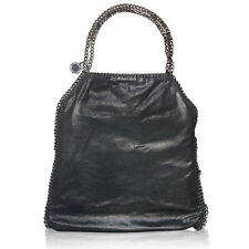 Stella McCartney Black Falabella Metallic Brushed Faux Leather Big Tote