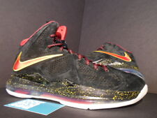 Nike LEBRON X 10 EXT QS SUEDE PE PROMO SAMPLE BLACK RED GOLD MIAMI HEAT AWAY DS