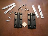 Pair of 80mm x 40mm Countersunk Hole Aluminium Hinge - Black
