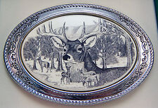 Belt Buckle Barlow Scrimshaw Carved Painted Art  Deer Portriat Silver 592696