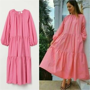 H&M TREND SS2020 100% Cotton Balloon Sleeved Dress Pretty Pink BLOGGERS FAVORITE