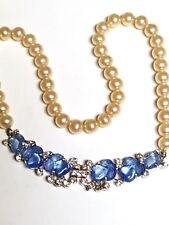 OPULENT Trifari Flora Leaf Blue Fruit Salad Faux Pearl Necklace Dew Drops