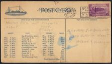 US 1938 SHIP SCHEDULE PC WITH  MAP ROUTE SAN FRANCISCO