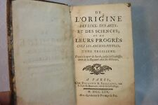 RARE ANTIQUE OLD FRENCH SCIENCE ART PROGRESS BOOK 1759
