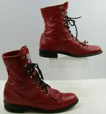 "Ladies Justin Red Leather Lace Up Roper Boots Size: 6.5A ""Narrow Width"""