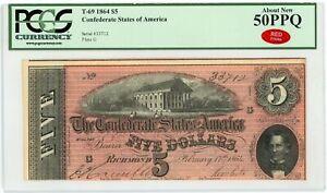 1864 T-69 $5 The Confederate States of America Note - CIVIL WAR Era PCGS 50 PPQ