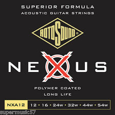 Rotosound NXA12 Nexus Clear Polymer Coated Acoustic Guitar Strings Gauge 12-54