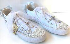 Custom Converse Crystal Diamante Bling White Wedding Prom Personalised UK 345678