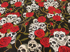 "Black & Red Skulls and Roses Printed 100% Cotton Fabric. 54"" Wide."