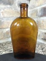 Antique Amber Whittled Seam-Side Pint Whiskey Flask Antique Crude 1870's Glass