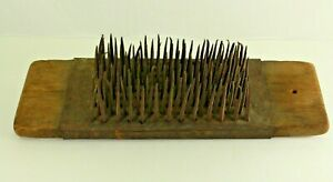 = Antique 1700's EARLY Wool Comb Flax Hatchel Signed Colonial Virginia