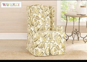 Sure Fit fantasy fleur Wing Chair Slipcover homestyle washable NEW pumice