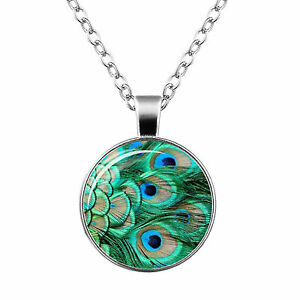Turquoise Peacock Women Pendant with Silver Chain Lady Jewellery Necklace N464