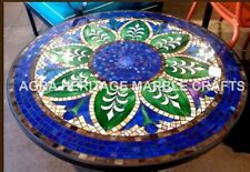 "36"" Mosaic Lapis Inlay Stone Round Marble Dining Table Top Furniture Decor H3460"