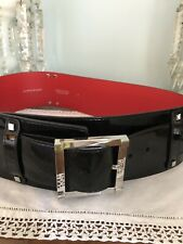 "Karen Millen 3"" Wide Black Patent Leather Belt"