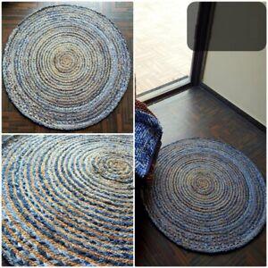 Rug natural jute and denim modern living rustic look area carpet home decor rug