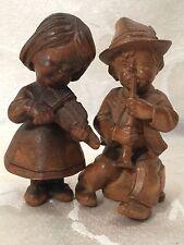 Wood Carved Vintage Boy And Girl German Germany Children Figurine Lot Set Of 2