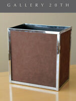 RARE & COOL! MID CENTURY ITALIAN SUEDE CHROME WASTEBASKET! 70'S AFTER PANTON VTG