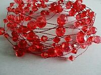 5 METRE RED ACRYLIC CRYSTAL GARLAND ON A RED WIRE/WEDDING//CHRISTMAS/VALENTINE