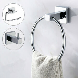 3pc Chrome Bathroom Accessories Set -Toilet Roll Holder, Towel Ring, Robe Hook