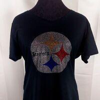 1a1f3299 Women's Pittsburgh Steelers Rhinestone Football V-neck T Shirt Tee ...