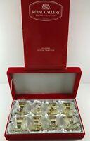 NEW 2002 MACYS Set of 8 Silver Snowflake Napkin Rings with Red Velvet Box