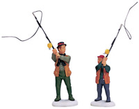 Lemax 2001 Flyfishing With Dad Set Of 2 Village Collection #12495AM Collectables
