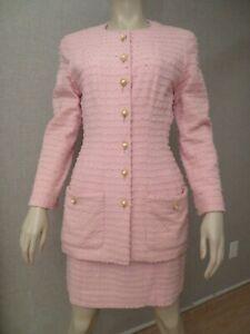 CHANEL Women's Size 40 Dress Skirt Suit Jacket Pink CC Logo Wool Alpaca Mint FR