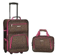 Rockland Rolling Luggage Pink Leopard Suitcase Expandable Carry Travel 2 Bag Set