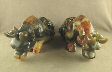 "PAIR 7.1""LARGER CARVED WITH COILED DRAGON IN CHINESE OLD JADE DRAGON STATUE"