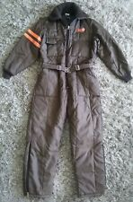 Rare Vintage 1980' 90's Bass Tracker Boats Fishing Brown Quilted Coveralls Sz L