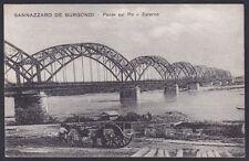 PAVIA SANNAZZARO DE' BURGONDI 07 PONTE Fiume PO - CARRO Cartolina viaggiata 1931