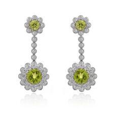 4.99 Carat Round Diamond & Peridot Chandelier Drop Earrings 18K White Gold