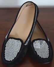 MARIA VOLPINI BLACK LEATHER BEADED MOCCASIN SIZE 38