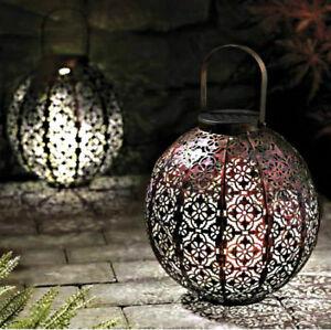 2x New Moroccan Solar Powered LED Hanging Garden Lantern Modern Garden Lighting