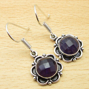 925 Silver Overlay PURPLE AMETHYST INEXPENSIVE Earrings 1 3/8 Inches