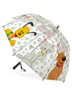 DISNEY PARKS REIGNING CATS AND DOGS UMBRELLA NWT Lady Cheshire Dug Pluto Pongo
